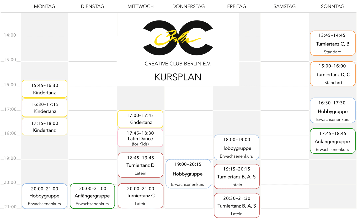 Creative Club Stundenplan Update